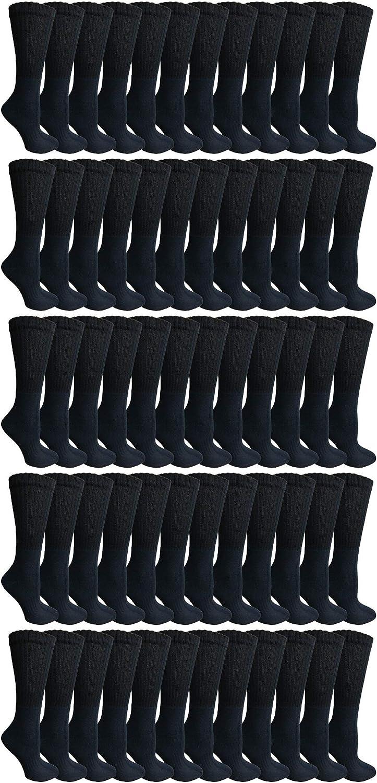 SOCKS'NBULK 60 Pairs of Kids Crew Socks, Soft Sports Socks In Bulk Packs, (Black)