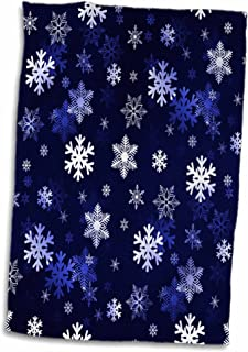3D Rose Dark Blue Winter Christmas Snowflakes with A Seamless Pattern Hand Towel, 15