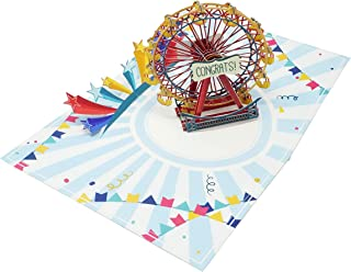 Ferris Wheel Amazing Colorful Wow 3D Pop Up Card for All Occasions - Birthday, Congratulations, Good Luck, Anniversary, Get Well, Love, Good Bye - Fold Flat, Envelope Included