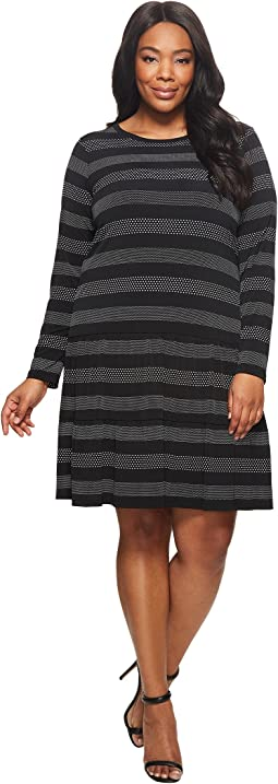 Plus Size Striped Dot T-Shirt Dress