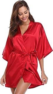 Vlazom Women Kimono Robes Satin Dressing Gown Short Silk Bridal Bridesmaid Party  Robe Nightwear with 441766de8