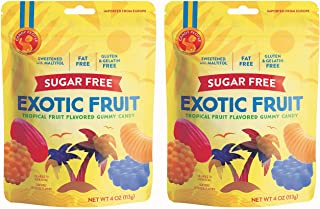 Candy People Sugar-Free Swedish Exotic Fruit Gummy Candy 4 Ounce (Pack of 2) – Fat-Free, Gluten-Free, and Gelatin-Free - Tropical Fruit Gummies Sweetened with Maltitol