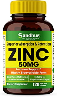 Zinc 50mg Highly Absorbable Immune Support Booster Zinc Vitamin Supplements for Adults Zinc Pills Offer High Potency Alternative to Lozenge Chewable Tablets Liquid 120 Capsules Vegan 4 Month Supply