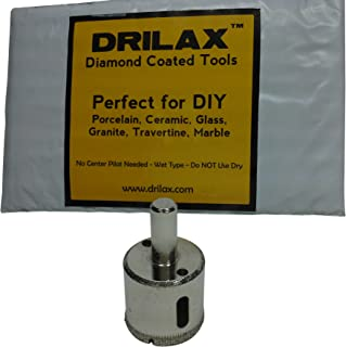 Drilax 1 3/16 Inch Diamond Hole Saw Drill Bit Tiles, Glass, Fish Tanks, Marble, Granite Countertop, Ceramic, Porcelain, Coated Core Bits Holesaw DIY Kitchen, Bathroom, Shower, Faucet Installation Size 1 3/16
