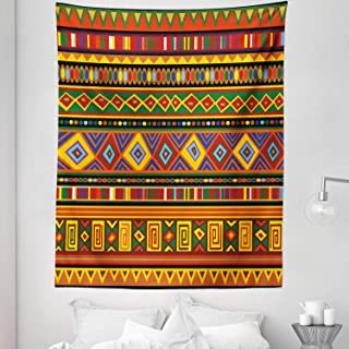 Lunarable Tribal Tapestry Twin Size, Geometric Aztec Style Pattern with Colorful Shapes Folk Art Design, Wall Hanging Bedspread Bed Cover Wall Decor, 68