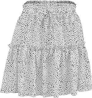 UUYUK Women's Beach Rise High Summer Chiffon A-Line Polka Dot Print Mini Skirts