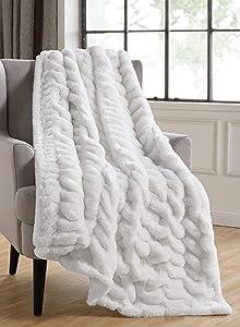 Tahari Home | Isla Bedding Collection Modern Luxurious Designer Premium Plush Throw Blanket, Ultra Soft Cozy Rouched Texture, 50
