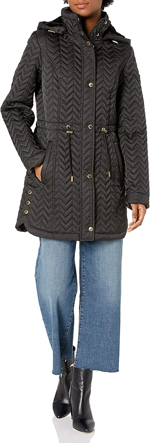 LAUNDRY BY SHELLI discount SEGAL Women's NEW before selling Quilt Trim Jacket Fur Faux with