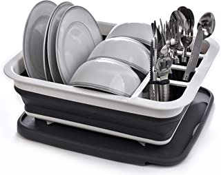 Collapsible Dish Drying Rack - Popup and Collapse for Easy Storage, Drain Water Directly into the Sink, Room for Eight Lar...