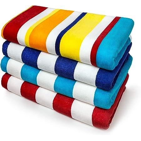 Kaufman - Joey Velour Cabana Stripe Multicolor Beach Towel, 4-Pack, 32in x 62in, 100% U.S.A. Cotton