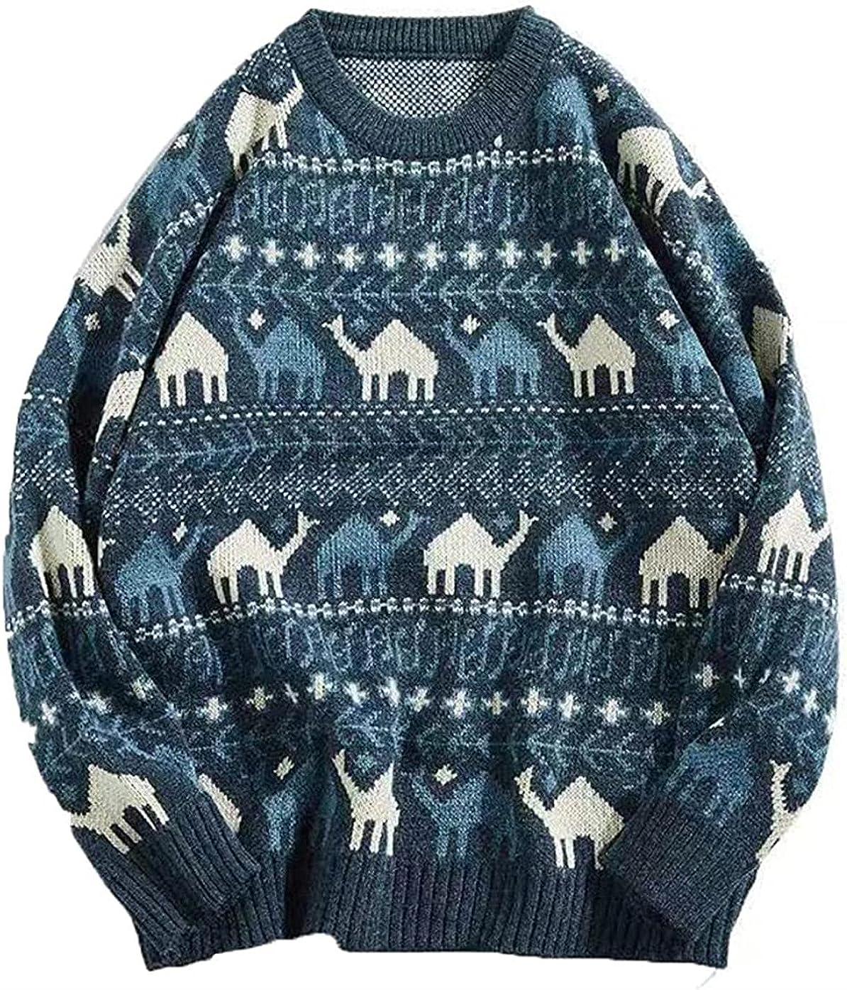 JOAOL Men Sweater Autumn Winter Retro Print Pullover Sweater Casual Loose Soft Sweater