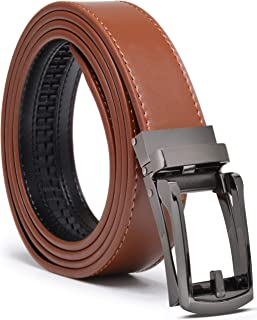 Ratchet Belt Men's Belt Genuine Leather Custom Fit Automatic Buckle No Hole (ADJUSTS TO FIT 28-44, Cognac Brown Strap With...