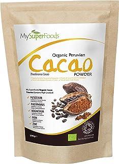 comprar comparacion Polvo de Cacao Peruano Crudo Orgánico (500g), MySuperFoods, Delicioso y bueno para usted, Rico en micronutrientes, certifi...