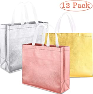 Whaline Set of 12 Christmas Glossy Reusable Grocery Bag, Tote Bag with Handle, Non-woven Stylish Gift Bag, Goodies Bag, Shopping Promotional Bag, for Party,Event,Birthday (Rose gold, Gold, Silver)