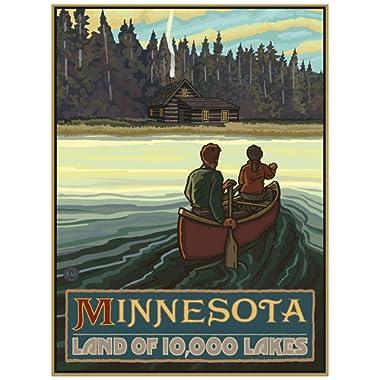 Minnesota Lake Canoers Forest Cabin Giclee Art Print Poster from Original Travel Artwork by Artist Paul A. Lanquist 18  x 24