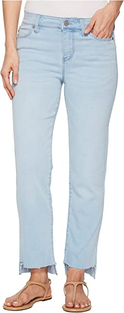 Jayden Crop Straight High-Low Released Hem in Crosshatch Stretch Denim in Brenton