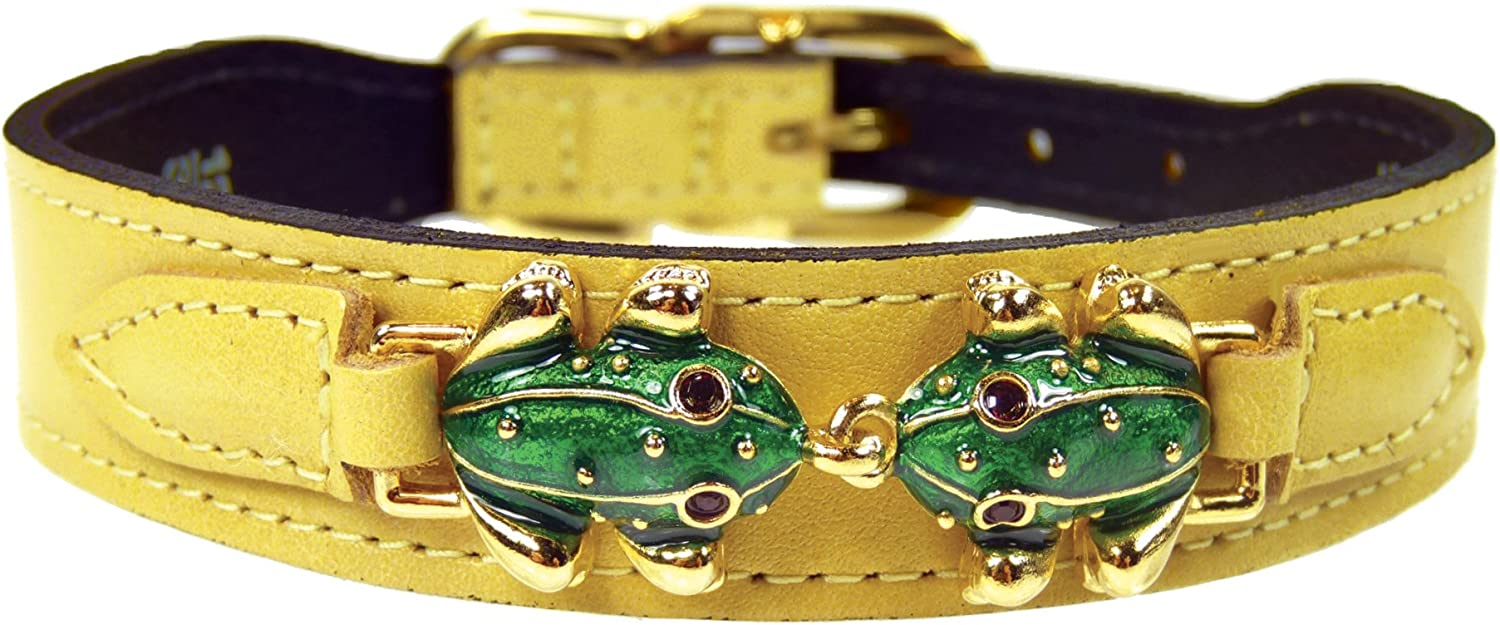 Hartman & pink Leap Frog Collection Dog Collar, Canary Yellow, 1416Inch