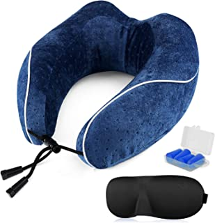 ONSON Travel Pillow - 100%Pure Memory Foam Neck Pillow - U-Shaped Airplane Car Flight Pillow,Breathable and Comfortable 360-Degree Head Support,Ultra Plush Velour Cover(with Eye Mask and Two Earplugs)