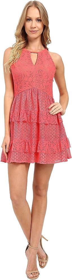 Jessica Simpson Peekaboo High Low Blouson Dress Hot Coral