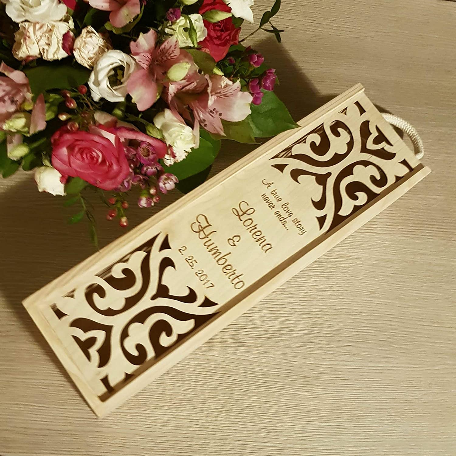 Personalized Max 86% OFF wine gift for wedding wooden custom engraved b Fashion one