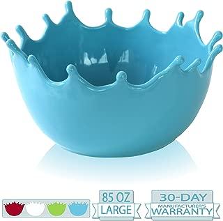 Premium Large Salad Bowl - Serving Bowl - Fruit Bowl - Candy Dish - Decorative Centerpiece Bowl - Best for Serving Fruit Salad Candy Popcorn Punch Chips Pasta - Unique Modern Design - Ceramic (Blue)