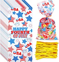 Boao 100 Pieces Cellophane Bags Halloween Christmas Treat Bags Clear Goodies Bags with 150 Pieces Twist Ties for Party Supplies (Style 11)