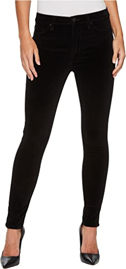 Hudson - Barbara High-Waist Super Skinny Velvet Jeans in Black Star