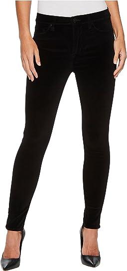 Hudson - Barbara High-Waist Super Skinny Velvet Jeans in Black Star
