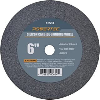 "POWERTEC 15501 1/2"" Arbor 60-Grit Silicon Carbide Grinding Wheel, 6"" x 3/4"""