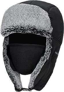 CAMEL CROWN Winter Trapper Hats for Men & Women Ushanka Warm Ear Flap Hunting Hat with Windproof Mask Black