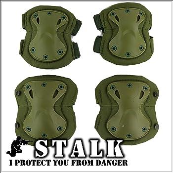 【STALK】最新カラー13種類 XTAK型 プロテクター エルボーパット ニーパット 肘 膝(4点・コンパクト収納袋セット) 自転車 登山 サバゲー スケボー 衝撃吸収 防御 防護 (アーミーグリーン)