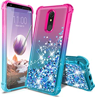LG Stylo 5 Phone Case, LG Stylo 5/5 +/5V/LG stylo 5 Plus Case with 2Pcs Screen Protector, Four Reinforced Corners TPU Bumper Cushion Protective Shockproof Phone Cover for Girls Women, Pink/Teal