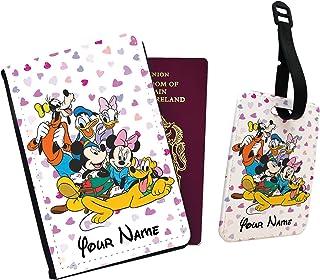 Pippo Plutone Paperino Topolino Minnie Cuore Disneyland Disney Family Passaporto Cover e Etichetta per Bagagli, Nero (Nero...