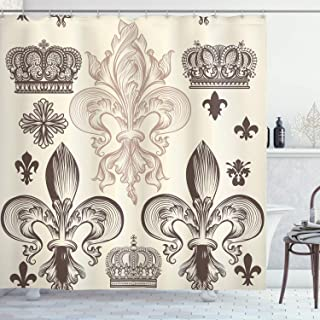 Ambesonne Fleur De Lis Decor Collection, Heraldic Pattern with Fleur De Lis and Crowns Tiara Iris Flowers Coat of Arms Knight, Polyester Fabric Bathroom Shower Curtain, 84 Inches Extra Long, Beige Tan