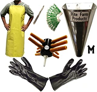 Rite Farm Products L10 Processing KIT Drill Plucker Medium Kill Cone 10 Blade Scalpel Apron Gloves Chicken Poultry