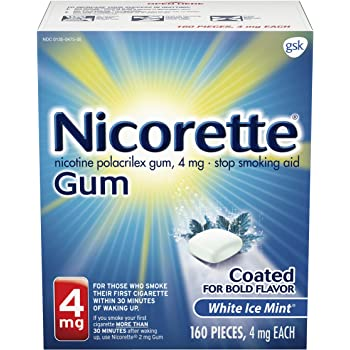 Nicorette 4mg Nicotine Gum to Quit Smoking - Flavored Stop Smoking Aid, White ice Mint, 160 Count