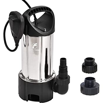 "FLUENTPOWER 3/4HP 3300GPH Sump Pump, Stainless Steel Submersible Pump for Dirty/Clean Water, Disable Float Switch Function, Included 3/4"" Garden Hose Adapter and 1""&1.5"" MNPT thread"