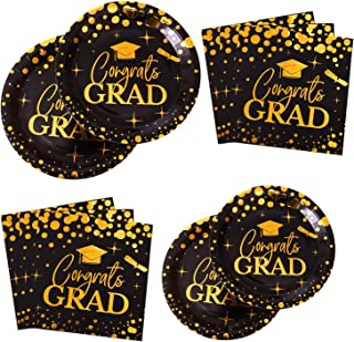 Aneco 98 Pieces Graduation Party Tableware Party Supplies Party Pack Graduation Paper Plates and Napkins for 24 Guests