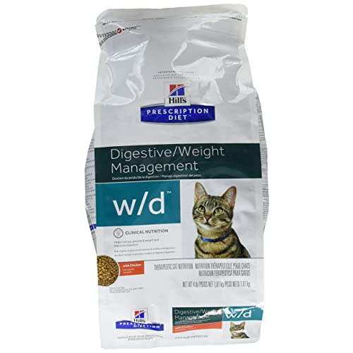 HillS Prescription Diet W/D Feline Low Fat - Glucose Management Gastrointestinal - 4Lb