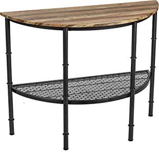IRONCK Console Table for Entryway Half Moon/Half Round, Entry Table with Shelf, Round Pipe Legs, Industrial Style,Vintage Brown