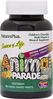 NaturesPlus Animal Parade Source of Life Children's Chewable Multivitamin - 90 Animal Shaped Tablets - Natural Assorted Fl...