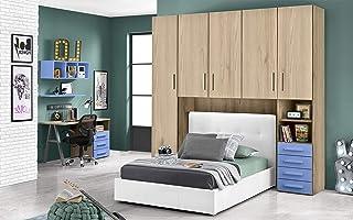 Chambre à pont avec lit blanc une place et demie – Composé d'une porte longue, 4 portes moyennes, petit compartiment à jou...