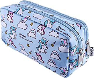 SIQUK Unicorn Pencil Case Large Capacity Pen Bag Double Zippers Unicorn Makeup Bag Stationery Bag Cosmetic Bag with Compartments