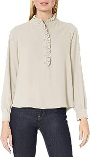 Lark & Ro Women's Long Sleeve Ruffle Placket Button-Up Blouse, Ivory, 10