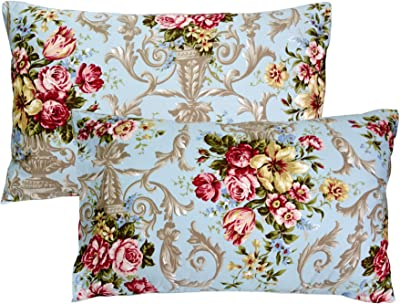 FADFAY 20X30 Pillowcase Luxury Peony Floral Shams 100% Egyptian Cotton Pillow Covers, 2Pcs, Standard Size (Twin/Full/Queen)