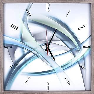 Art Maison,Blue Abstract Rhythminc Lines Print Framed Texture Decorative Silent Art Clock