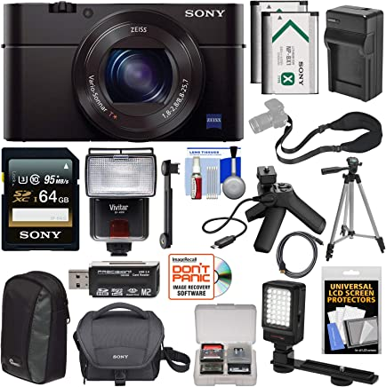 $699 Get Sony Cyber-Shot DSC-RX100 III Digital Camera Video Creator Kit with 64GB Card + 2X Batteries & Shooting Grip + Charger + Cases + Tripod + Flash + LED