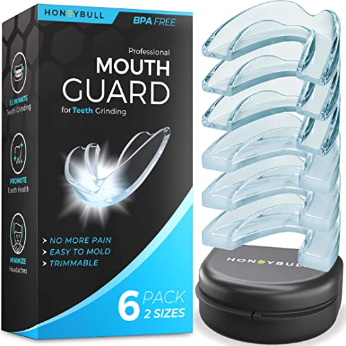 high quality HONEYBULL Mouth popular Guard for Grinding Teeth [6 Pack] Comes in 2 Sizes for Light and Heavy Grinding | Comfortable Custom Mold for outlet online sale Clenching at Night, Bruxism, Whitening Tray & Guard outlet online sale