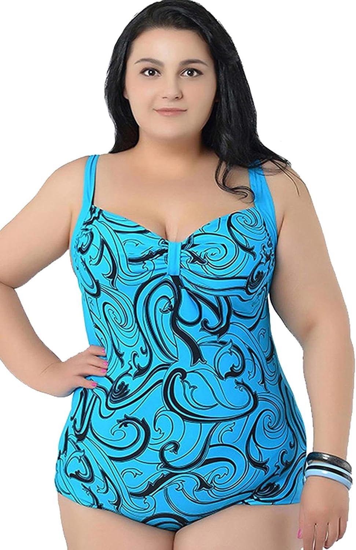 Angelique Plus Size Fashion Print One Piece Tie Back Swimsuit Swimwear