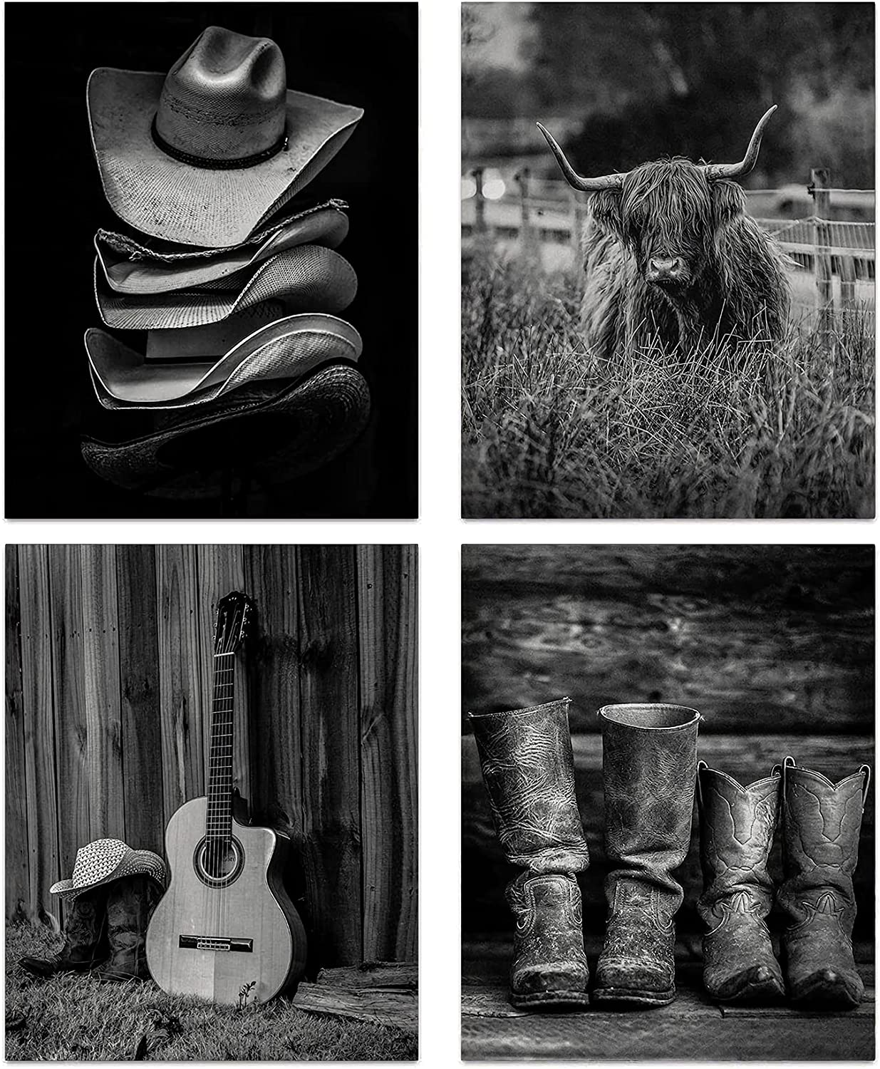 Highland Cow Art Print, Western Boots and Straw Hat Decor Cowboy Wall Art, Black and White Longhorn Wall Art, Vintage Farmhouse Canvas Wall Art for Men's Bedroom Decor, Set of 4-(8